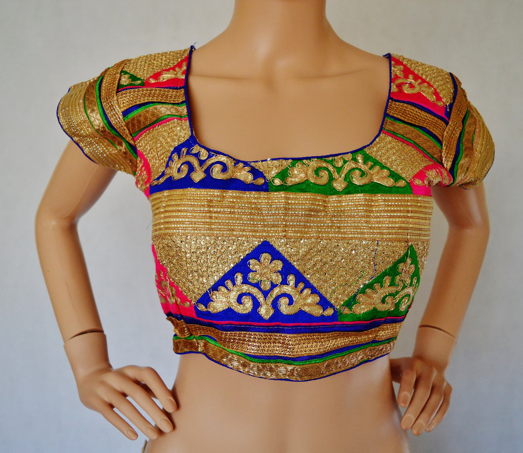 Pink Gold Embroidered readymade blouse / choli Top