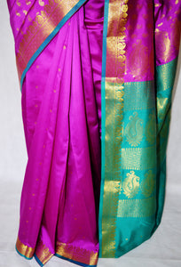 Fuchsia and Turquoise Colour Silk Saree