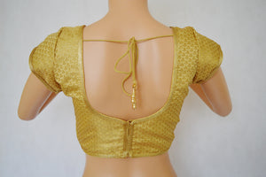 Designer Gold Brocade  Blouse One Size