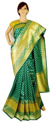 Light Weight Woven Banarasi Silk Saree in Green