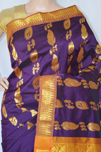 Lovely Plum & Gold  Colour  Silk Saree