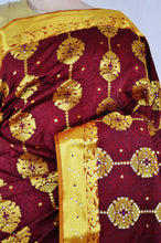 Woven Kanchipuram Silk Saree With Stone Work in Wine