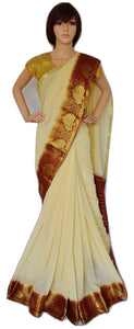 Beautiful Cream & Maroon Chiffon Silk Party Wear Saree