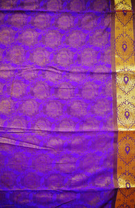 Woven Kanchipuram Silk Saree With Stone Work in Violet
