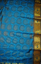 Woven Kanchipuram Silk Saree With Stone Work in Cerulean