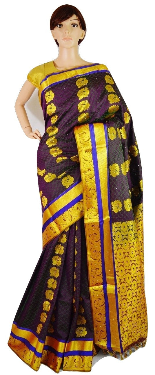 Aubergine Colour Stone Work Woven Kanchipuram Silk Saree