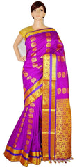Purple Colour Stone Work Woven Kanchipuram Silk Saree