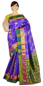 Purple ,Green & Magenta Kanchipuram Pattu Silk  Saree