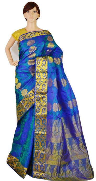 Green Shade Blue Kanchipuram Pattu Silk Saree