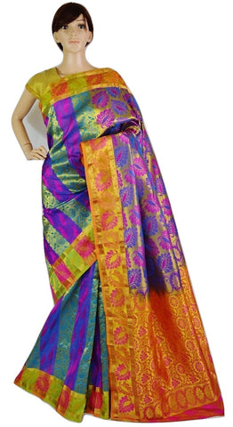 Green ,Orange,Purple& Pink Colour Kanchipuram Silk Saree