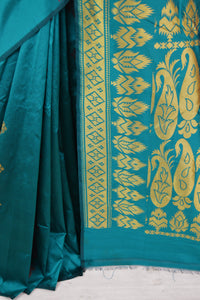 Turquoise & Gold Kanchipuram Silk & Cotton Mix Saree