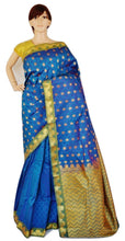 Gold Shaded Blue Colour Kanchipuram Silk  Saree