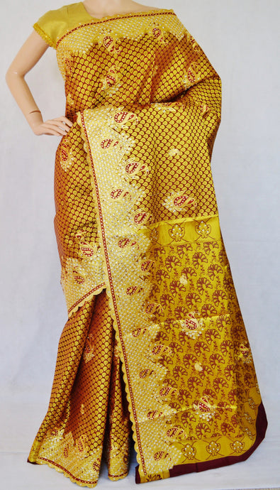 Plum Colour Stone Work Kanchipuram Silk Saree