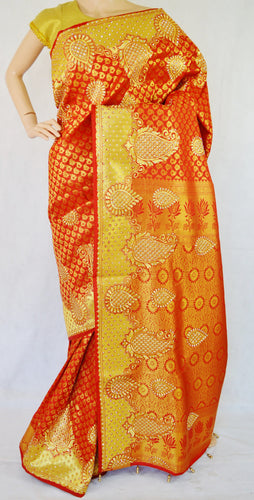 Scarlet Colour Stone Work Kanchipuram Silk Saree