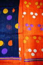 Blue & Orange Print Work Bhagalpuri Silk Saree