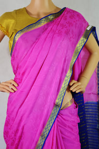 Pink,Blue & Gold Colour Kazmeer Silk Saree