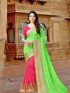 Green Colour Georgette Saree With Dupain Blouse