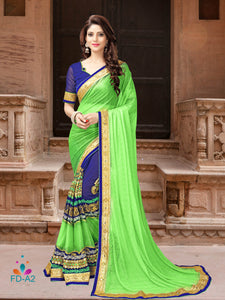 Light Green Georgette Saree With Dupain Blouse Piece