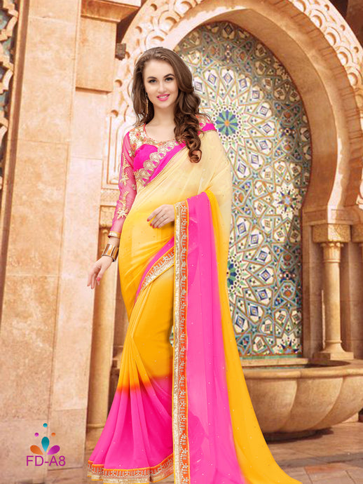 Yellow Colour Georgette Saree With Dupain Blouse Piece