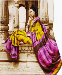 Beautiful Pink & Yellow Tusser Silk  Saree