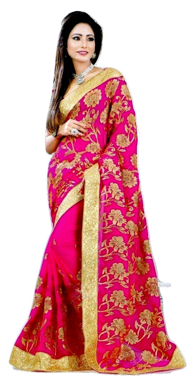 Bright Magenta & Gold Colour With Stone Work Saree
