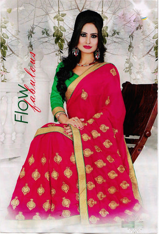 Dark Pink Saree With Green Brocade Blouse Piece