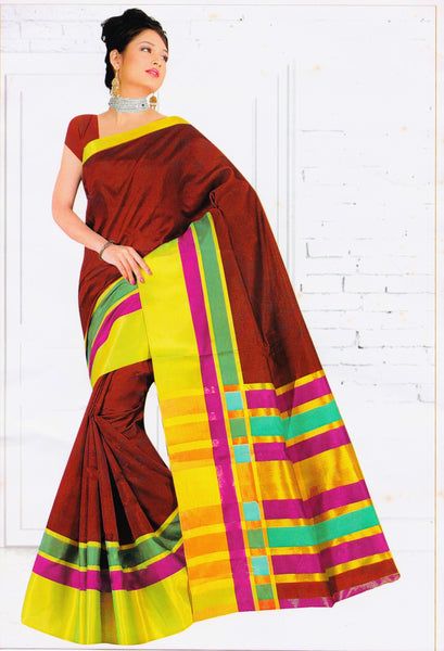 Latest Maroon, Green & Gold Colour Silk Cotton Saree