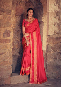 Red Colour Vichitra Silk Saree