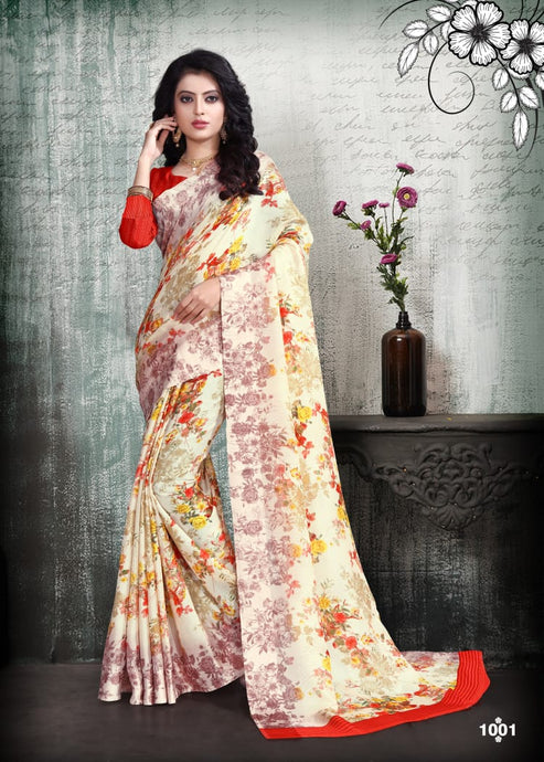 Fashionable Jute Satin Silk Saree