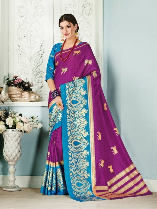 Indigo & Teal Silk Saree With Gold Print