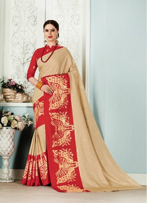 Beige & Red Silk Saree With Gold Print
