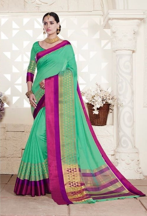 Green Colour Handloom Silk Cotton  Saree