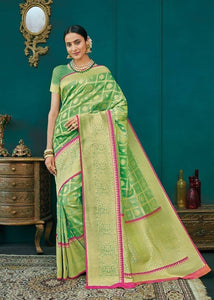 Light Green Handloom Kanchipuram Silk Saree