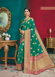 Green & Pink Handloom Kanchipuram Silk Saree