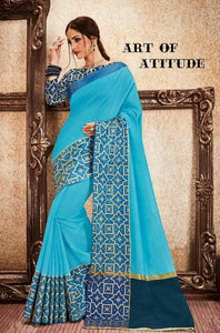 Blue Colour Rich Silk Cotton Saree
