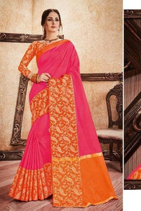 Pink & Orange Rich Silk Cotton Saree