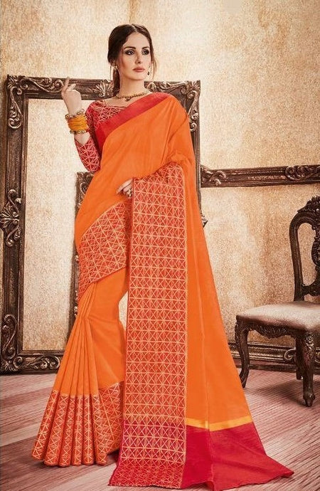 Orange & Red Rich Silk Cotton Saree