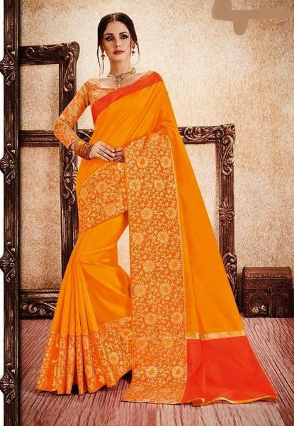 Mustard & Orange Rich Silk Cotton Saree