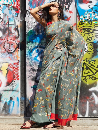 Grey Colour Print Work Saree