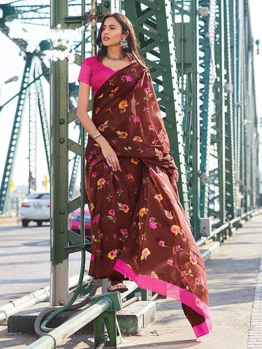 Brown Colour Print Work Saree