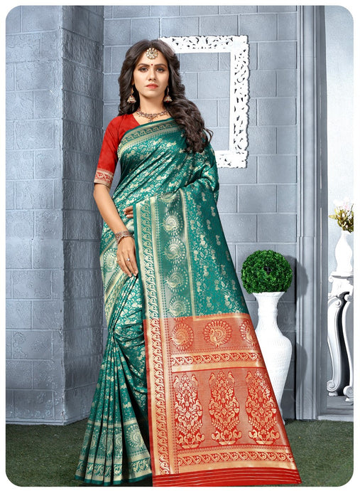 Turquoise & Red Kanchipuram Silk Saree
