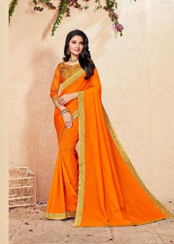 Mustard colour Vichitra Silk saree with border
