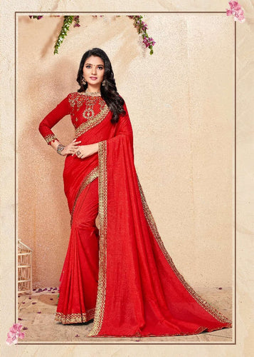 Red colour Vichitra Silk saree with border