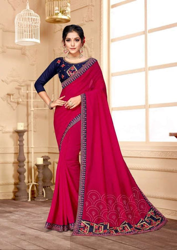 Magenta colour Silk saree with Embroidery work