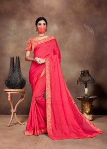 Pink colour Saree with Matching mask