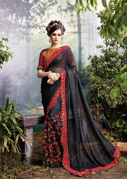 Fantastic Black Silk Georgette & Satin Silk Saree