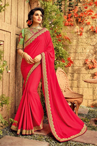 Magenta Silk Saree With Fabulous Work Blouse