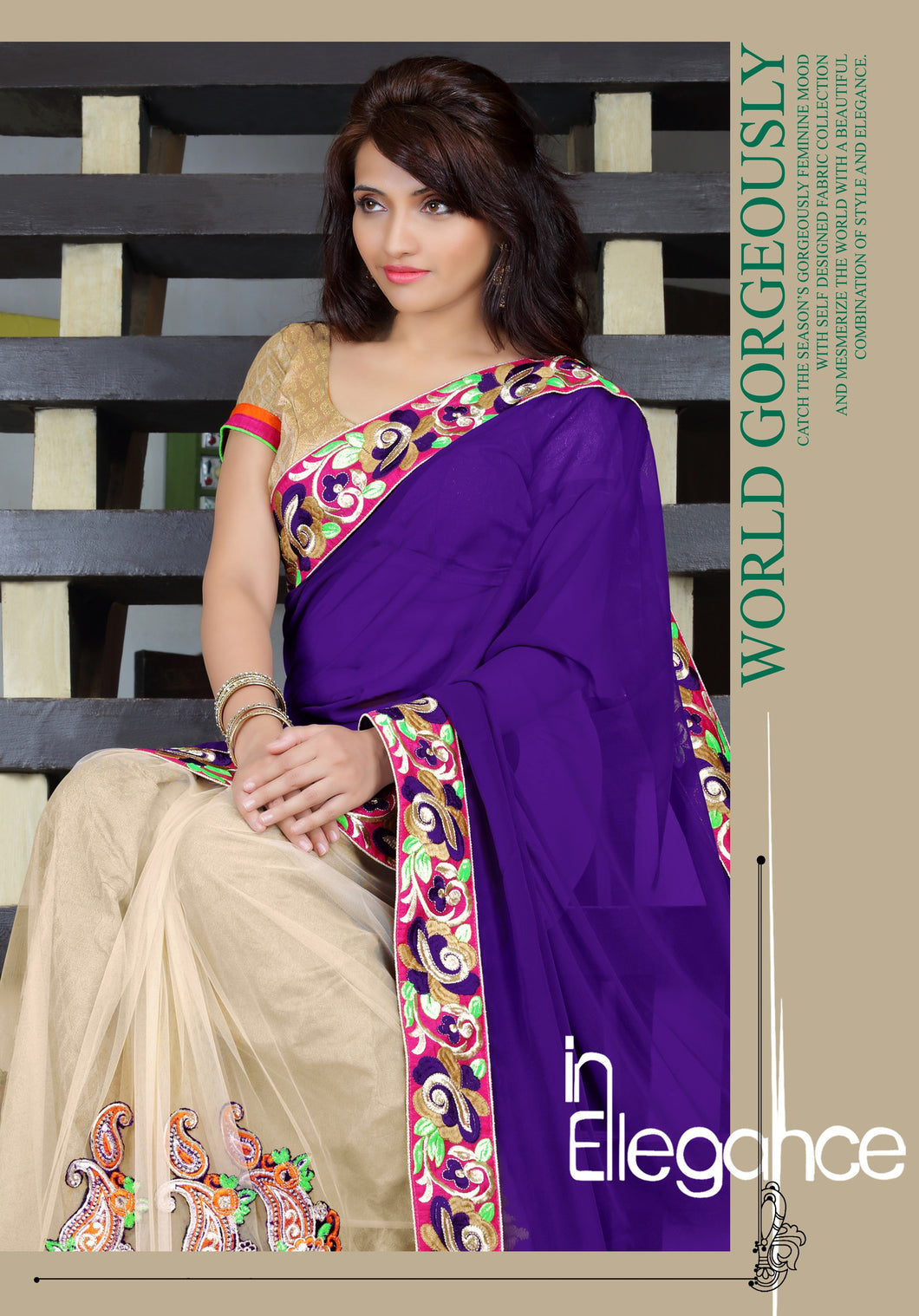 Beautiful Party Wear Violet & Cream Designer Saree