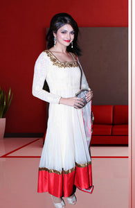 Prachi Desai White Georgette Embroidered  Anarkali Suit