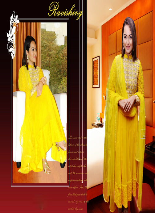 Sonakshi Sinha Georgette Embroidered  Anarkali Suit